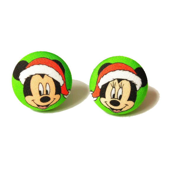 Santa Minnie & Mickey Mouse Fabric Button Earrings