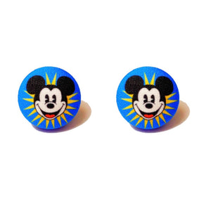 Mickey's Funwheel Inspired Fabric Button Earrings