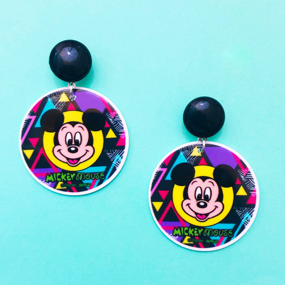 Retro 90s Mickey Mouse Round Drop Earrings