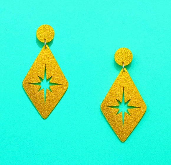 Gold Sparkle Retro Rhombus Twinkle Drop Earrings