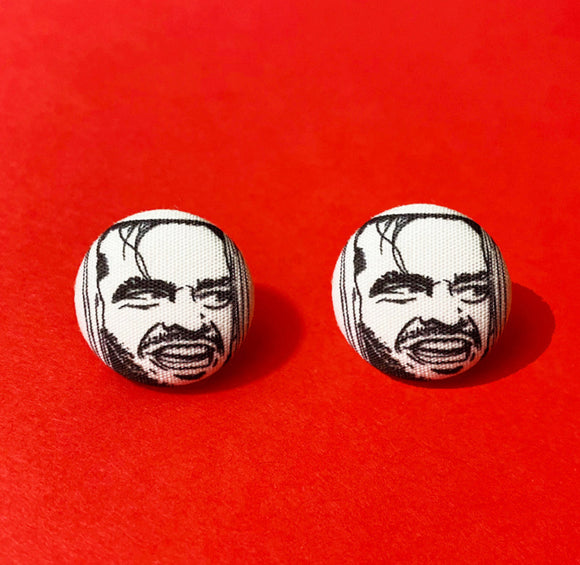 Here's Johnny Jack Nicholson The Shining Fabric Button Earrings