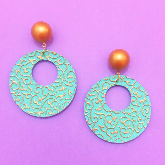 Aqua & Gold Princess Jasmine Print Round Retro Earrings