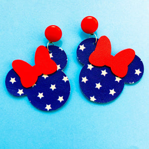 Blue & White Star Print Minnie Mouse Drop Earrings