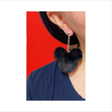 Black Plush Mouse Pom Pom Hanging Drop Earrings