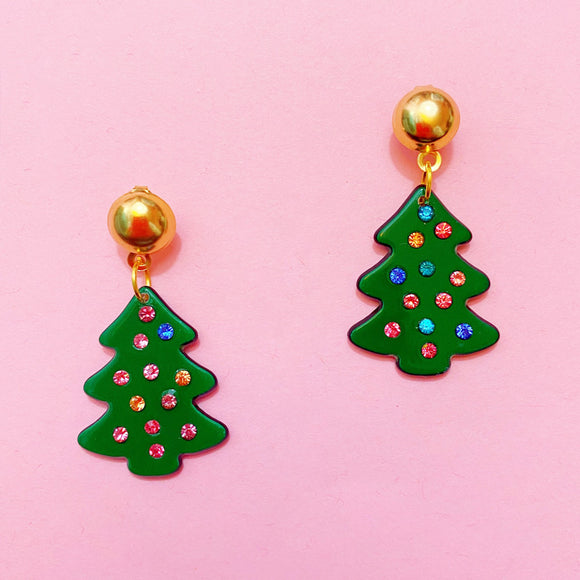 Green Multi Color Rhinestone Christmas Tree Drop Earrings