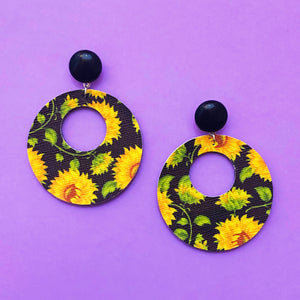 Sunflower Print Round Retro Drop Earrings