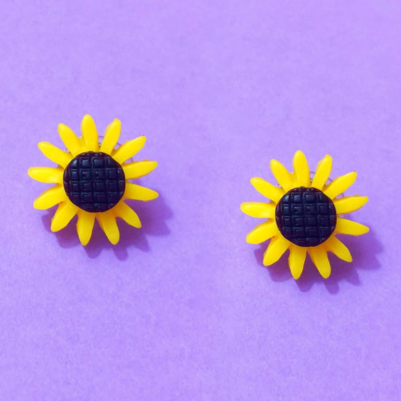 Sunflower Resin Post Earrings