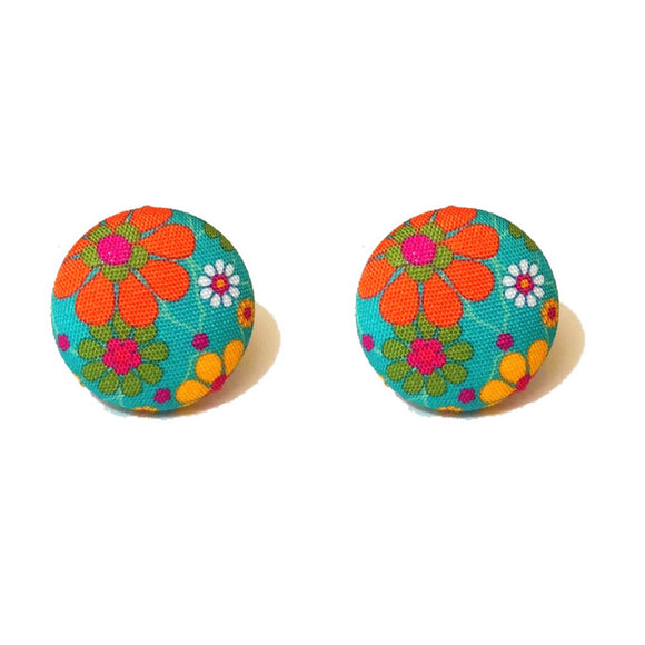 Teal Multicolor Retro Floral Fabric Button Earrings