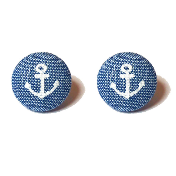 Denim Blue Anchor Fabric Button Earrings