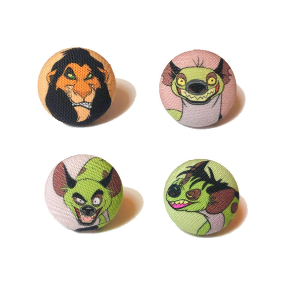 Scar & Hyenas Lion Ling Mix and Match Fabric Button Earrings