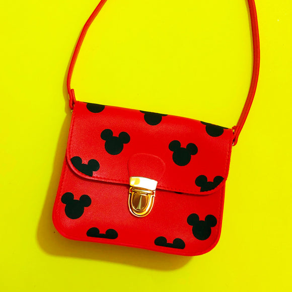 Red & Black Mouse Print Square Purse