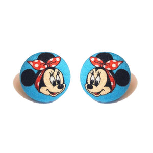 Minnie The Riveter Fabric Button Earrings