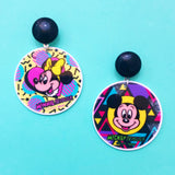 Retro 90s Minnie & Mickey Round Drop Earrings