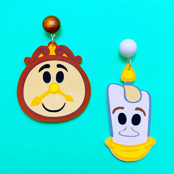 Lumiere & Cogsworth Beauty & The Beast Inspired Drop Earrings