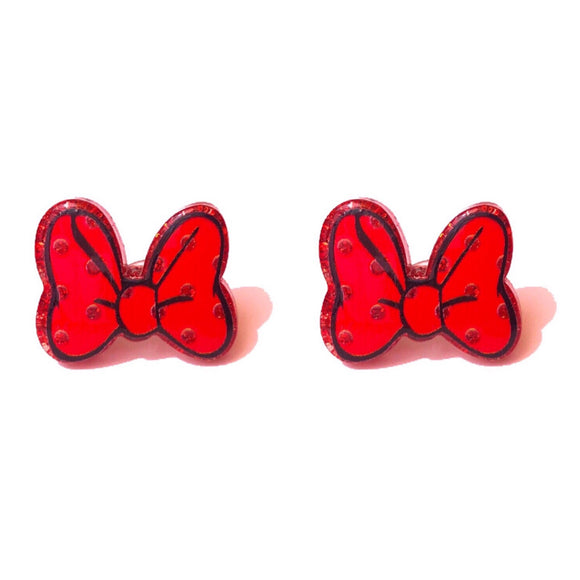 Sparkle Minnie Mouse Bow Red Post Earrings