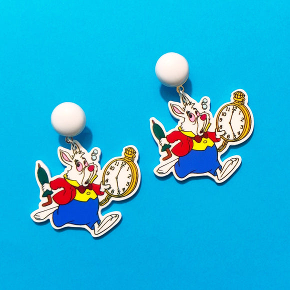 White Rabbit Alice in Wonderland Drop Earrings