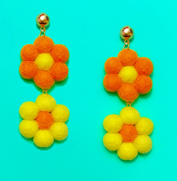 Orange & Yellow  Double Flower Wool Felt Drop Earrings