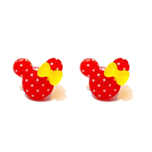 Red Polka Dot Yellow Bow Minnie Post Earrings