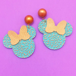Aqua & Gold Princess Jasmine Print Minnie Mouse Earrings