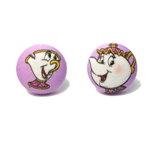 Mrs. Potts & Chip Beauty & The Beast Inspired Fabric Button Earrings