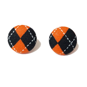 Halloween Argyle Orange & Black Fabric Button Earrings