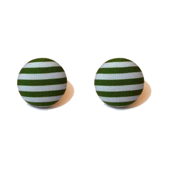 Slytherin Stripes Harry Potter Inspired Fabric Button Earring