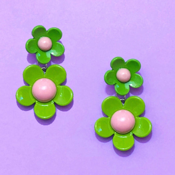 Green & Pink Retro Double Flower Drop Earrings