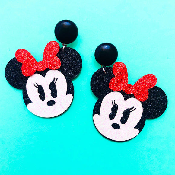 Sparkle Chibi Minnie Red Bow Drop Earrings