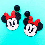Sparkle Chibi Minnie Mouse Red Bow Drop Earrings