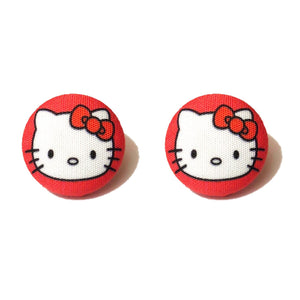 Red Hello Kitty Fabric Button Earrings