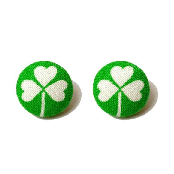 Four Leaf Clover Shamrock Green Fabric Button Earrings