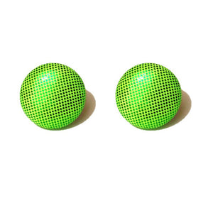Shiny Light Green Tinker Bell Fabric Button Earrings