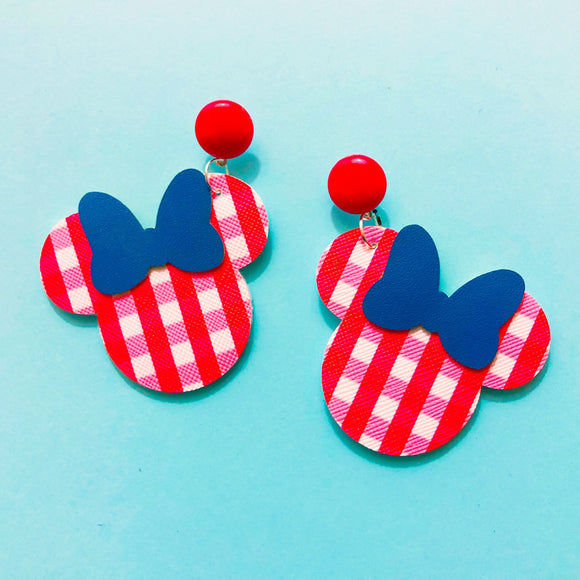 Red Gingham Blue Bow Minnie Mouse Drop Earrings