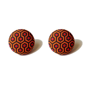 Overlook Hotel Carpet Print The Shining Fabric Button Earrings