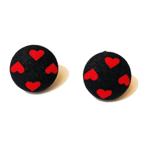 Black & Red Heart Fabric Button Earrings