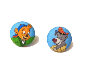 Kit & Balloo Tailspin Inspired Fabric Button Earrings