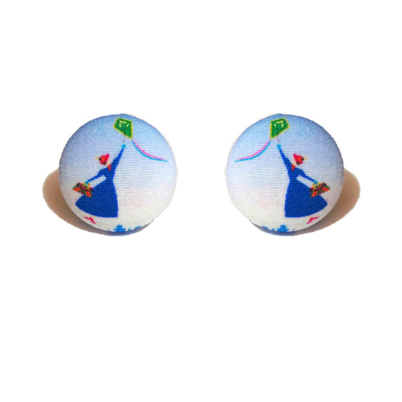Mary Poppins Returns Silhouette Fabric Button Earrings