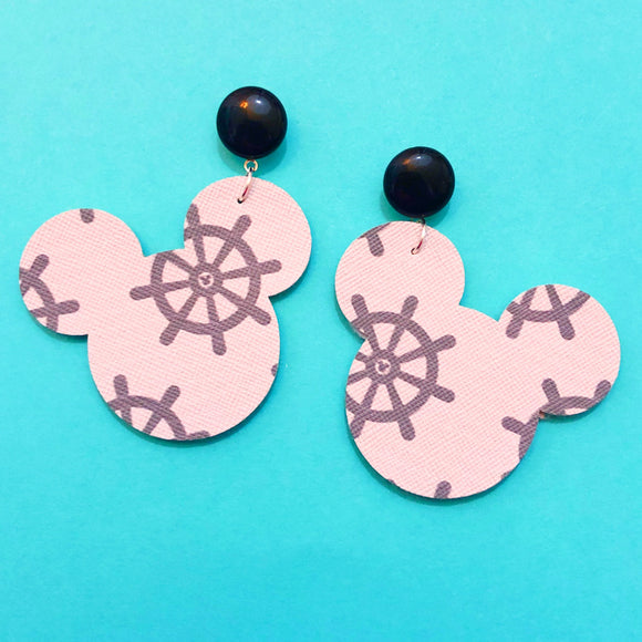 Steamboat Willie Print Mouse Drop Earrings