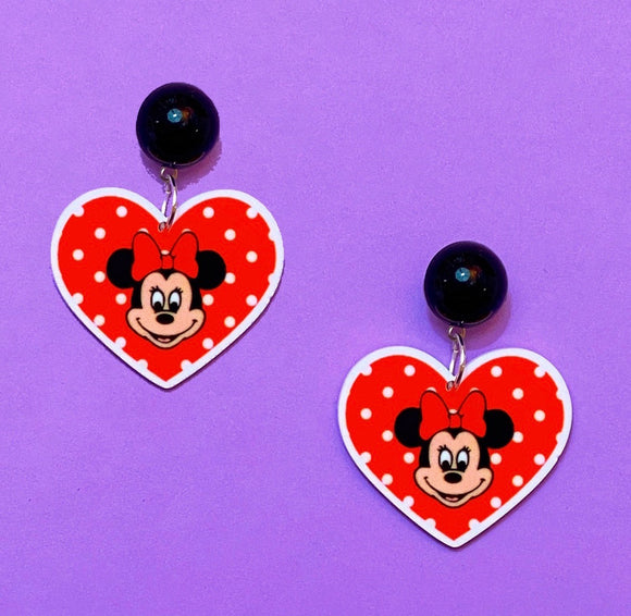 Retro Minnie Polka Dot Heart Acrylic Drop Earrings