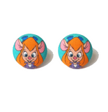 Gadget Rescue Rangers Inspired Fabric Button Earrings
