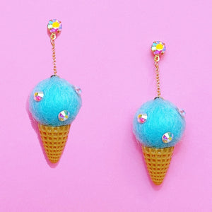 Mint Wool Felt Ice Cream Cone Hanging Drop Earrings