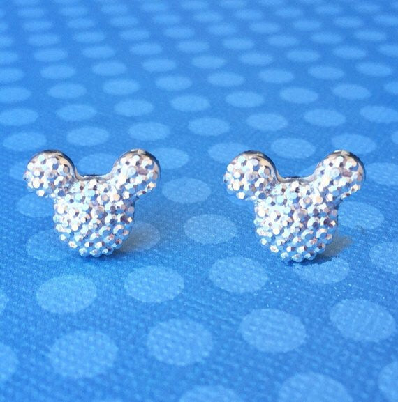 Silver Sparkle Mouse Earrings
