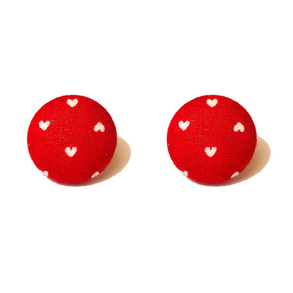 Dainty Red Heart Fabric Button Earrings
