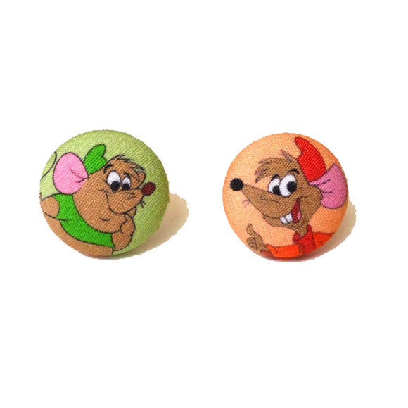 Jaq & Gus Gus Fabric Button Earrings