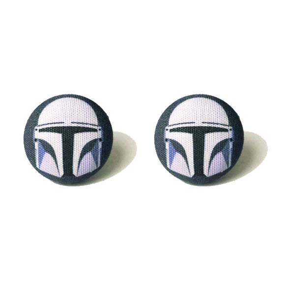 The Mandalorian Star Wars Fabric Button Earrings