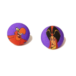 Jafar & Iago Aladdin Villains Inspired Fabric Button Earrings