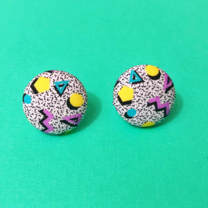 90s Print Saved by The Bell Purple Yellow and Violet  Fabric Button Earrings