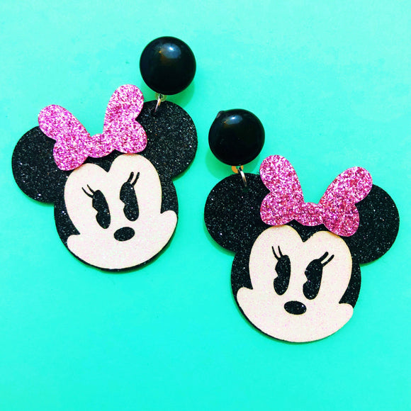 Sparkle Chibi Minnie Mouse Pink Bow Drop Earrings