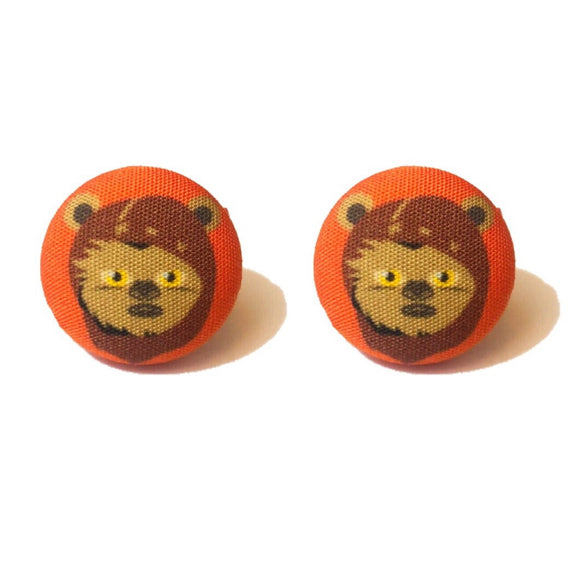 Ewok Star Wars Fabric Button Earrings