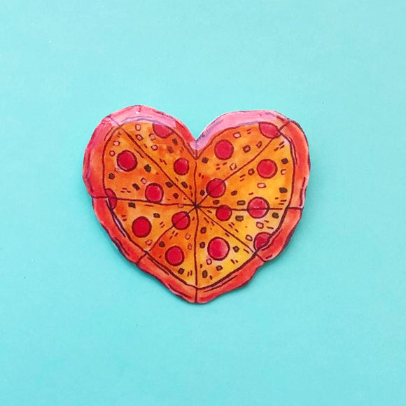 Pizza Heart Pin Brooch